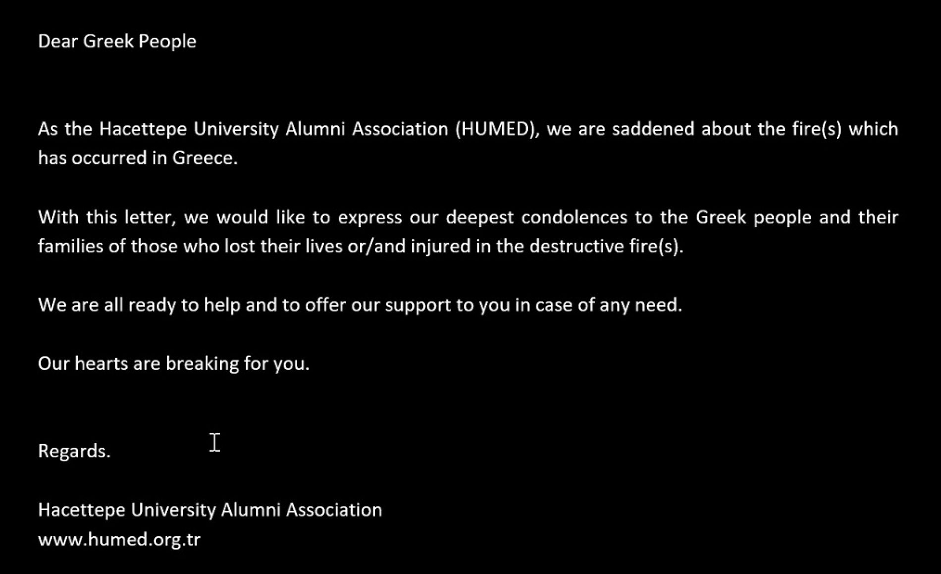 Express our deepest condolences to the Greek people