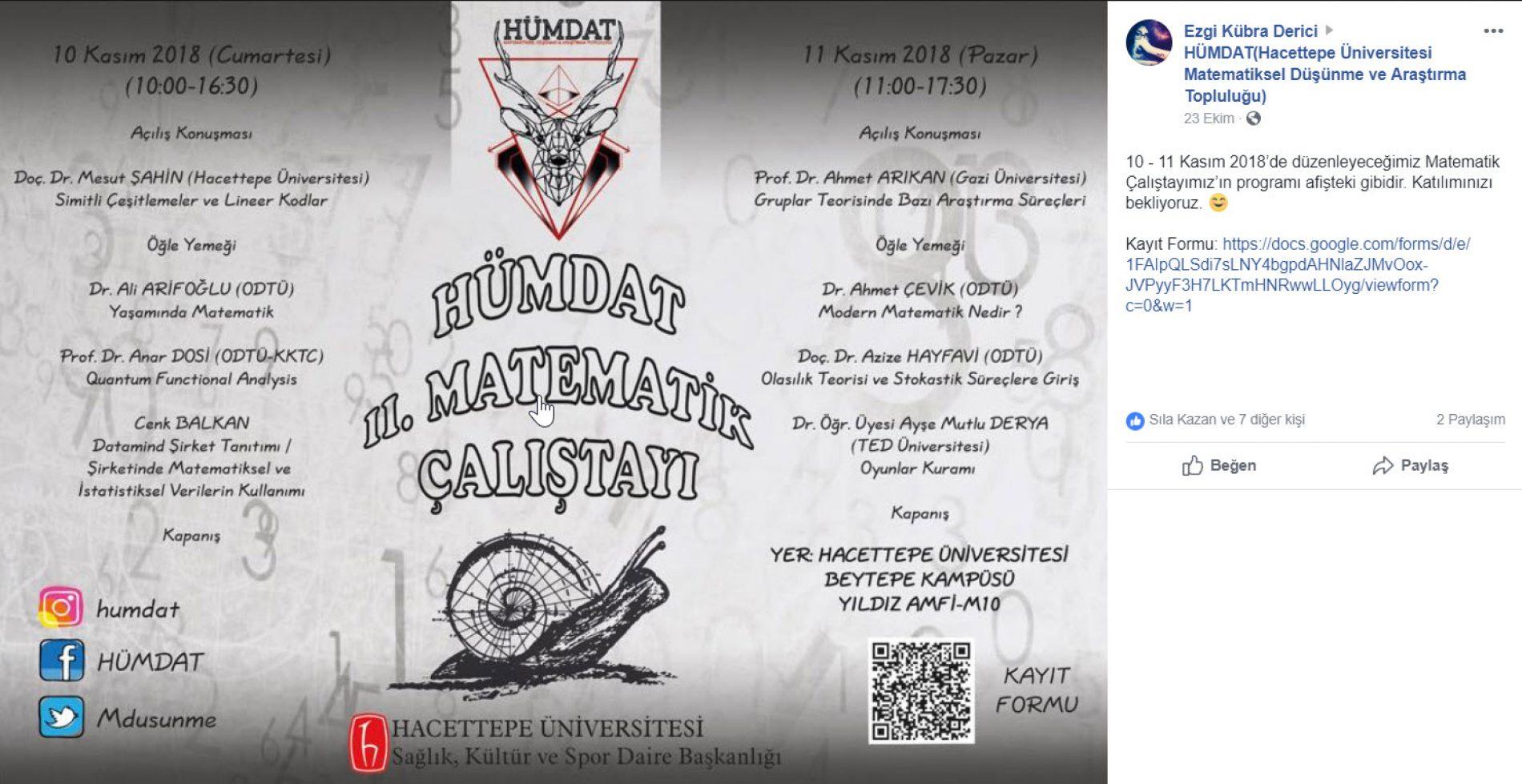 HÜMDAT II. Matematik Çalıştayı 10-11 Kasım 2018 – Beytepe
