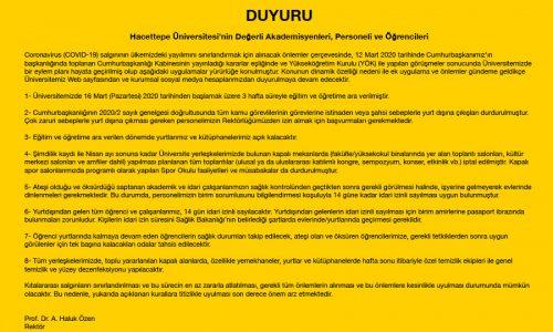 HACETTEPE ÜNİVERSİTESİ DUYURUSU (13.03.2020)