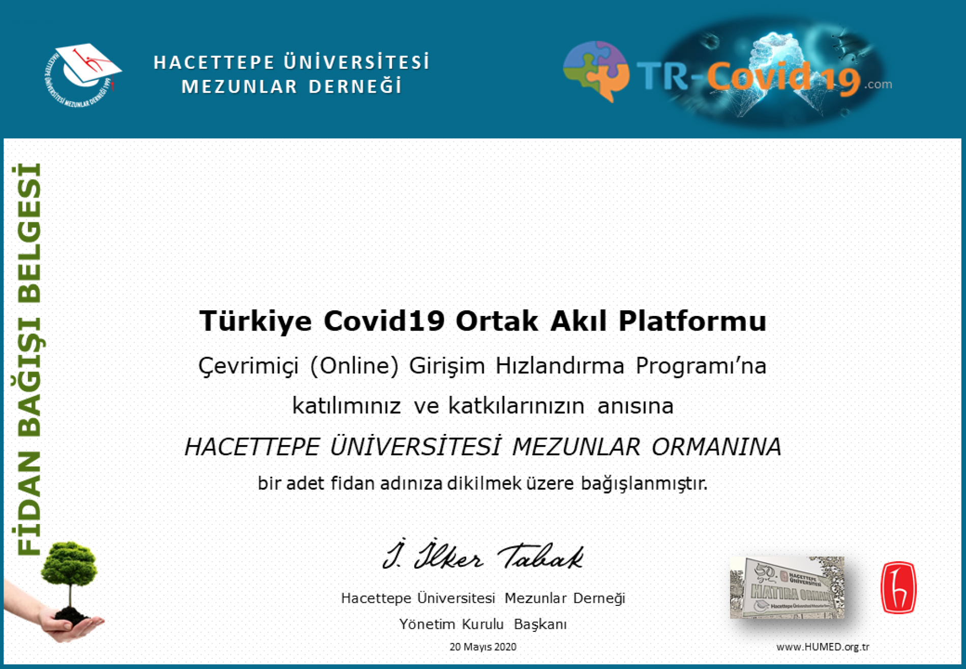 TR-Covid19 Ortak Akıl Platformuna Katılanlara Fidan Bağışı